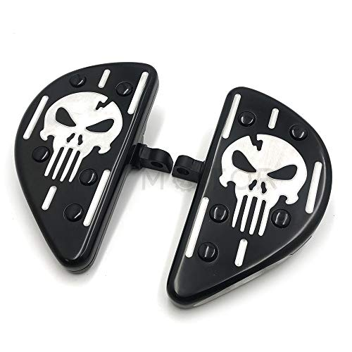 XKH- Replacement of Skull Black Deep Cut Rear Passenger Stretched Floor Boards For Harley ()