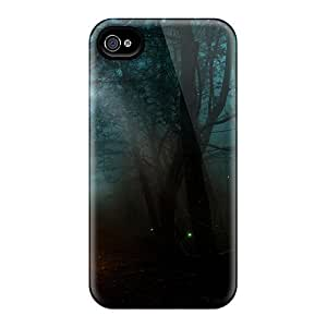 Iphone 4/4s Hard Back With Bumper Silicone Gel Tpu Case Cover Ray Of Light In Mysterious Woods