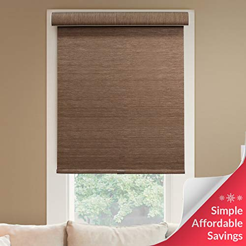 "Chicology Deluxe Free-Stop Cordless Roller Shades, No Tug Privacy Window Blind, Felton Truffle (Privacy & Natural Woven), 27""W X 72""H"