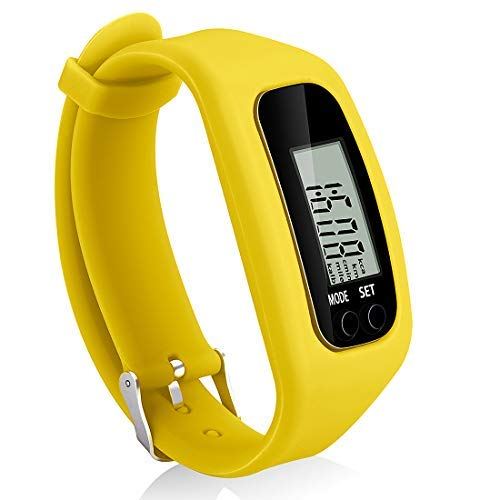 Bomxy Fitness Tracker Watch, Simply Operation Walking Running Pedometer with Calorie Burning and Steps Counting (Yellow-1)