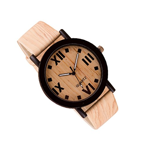 New! Men's Natural Looking Bamboo Wood Watch. Leather Band. Bamboo Themed - Sunglasses Whiskey Barrel