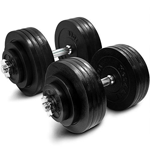 Yes4All Cast Iron Adjustable Dumbbell Set – 200lb Dumbbell Weight for Muscle Toning, Strength...