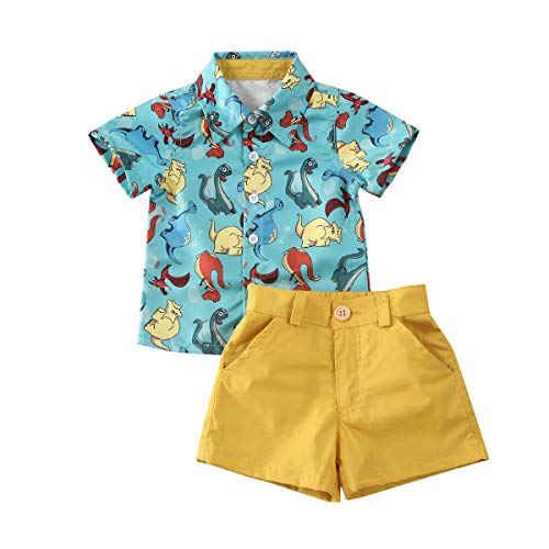 Toddler Baby Boys Summer Print Shirt Outfits Clothes Short Sleeve Button Down Tops + Shorts Set