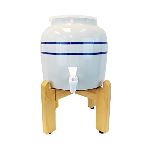 Blue Stripe Porcelain Water Crock Dispenser with a Wood Stand Fits 3 Gallon, 4 Gallon or 5 Gallon Drinking Water Bottles For Your Table or Countertop