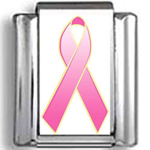 Hot Pink Inflammatory Breast Cancer Awareness Ribbon Photo Italian (Pink Ribbon Photo Italian Charm)