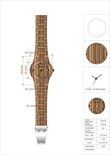 Burnham Wooden Watch - ARG001 Stylish Mens Wood Watches [Solid Natural Wood Grain] Upgraded Swiss Quartz Movement and Date [Easy set and adjust wood watch strap] Fine Crystal Face And Stainless Clasp by Burnham (Image #5)