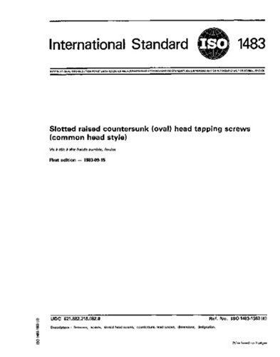 ISO 1483:1983, Slotted raised countersunk (oval) head tapping screws (common head style) (Countersunk Tapping Screw)
