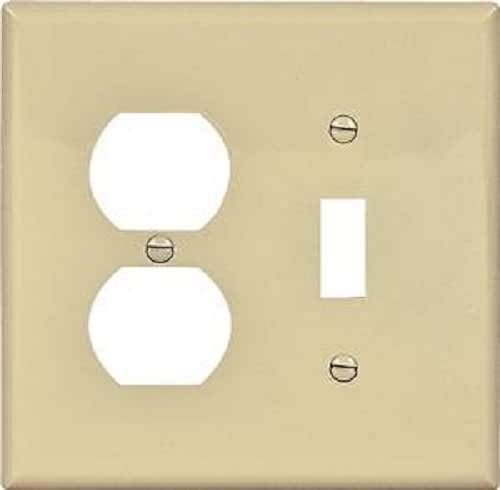 EATON Wiring 2038V Mid-Size Toggle/Duplex Receptacle Combo Thermoset Wallplate - Ivory