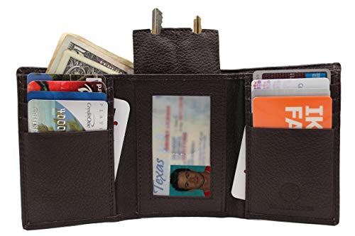 RFID Euro Black Tri-fold Leather Wallet Key Holder Zip Bill Slot Brown 130 -