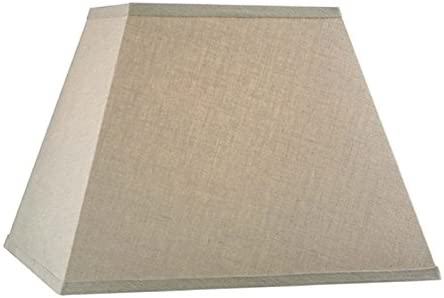 Upgradelights Beige Linen 12 Inch Square Bell Washer Lampshade Replacement 6x12x10 Beige