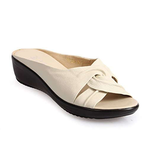 Shoes Round On Slip Genuine Sandals Toe Wedges Flops Slippers Leather Women Leroyca Flip Sandals White qgTtZnB