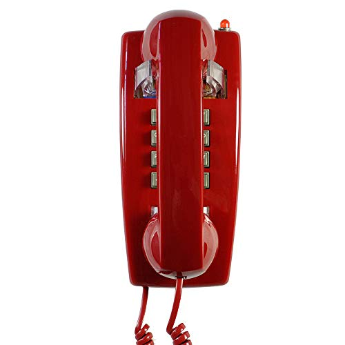 Old Style Retro Wall Phone with Handset Volume Control Landline Corded Telehone Waterproof and Moisture Proof for Home,Hotel,Bathroom,Living Room,School and Office,Red (Wall Phone Corded)