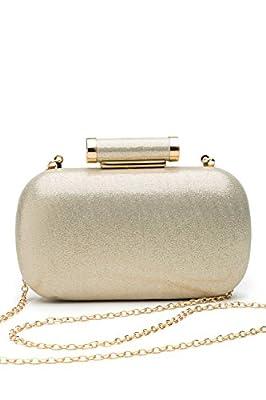 Women Clutch Box Purse Hard Case Evening Bag Glitter Handbag With Chain Strap
