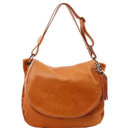 Cognac Leather Handbags - Tuscany Leather TL Bag Soft leather shoulder bag with tassel detail Cognac