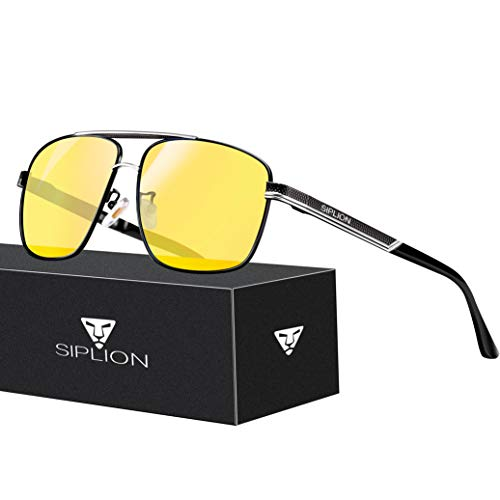 SIPLION Men's Driving Polarized Rectangular Square Sunglasses Metal Frame 1823 Night Vision (Night Sunglasses For Men)
