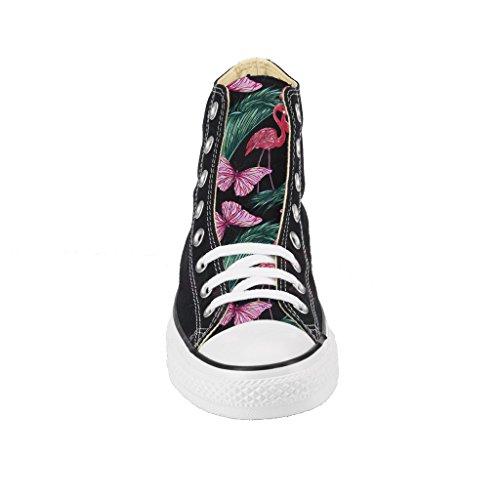 All Nera Alta Stampa Borchie Star Personalizzate Flamingo Artigianali Scarpe Silver Con Converse wTqY10nxIw