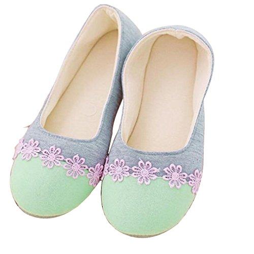 Amiley Femmes Casual Solide Slip-on Maison Pantoufles Talon Plat Anti-dérapant Chaussures Vert