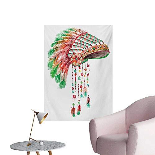 Anzhutwelve Feather Art Decor Decals Stickers Tribal Chief Costume Headdress Native American Culture Ethnicity SymbolVermilion Orange Green W24 xL32 Space Poster -
