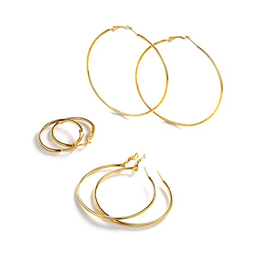 - FOCALOOK 2mm Thin 3 Pairs Stainless Steel Gold Plated Huggie Endless Hoop Earrings Set for Women 30mm 50mm 70mm