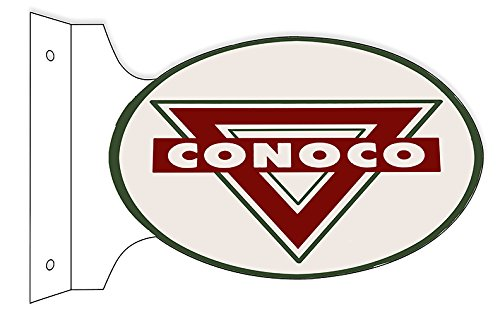 Conoco Motor Oil Double Sided Flange Sign 12X18 Oval