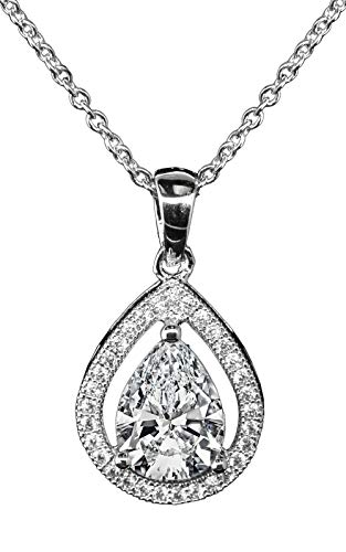 Jade Marie Genuine Silver Halo Teardrop Shaped Cubic Zirconia Pendant Necklace, 18k White Gold Plated Tear Drop Halo with CZ Crystals, Hypoallergenic Sparkling Pendant Necklaces for Women