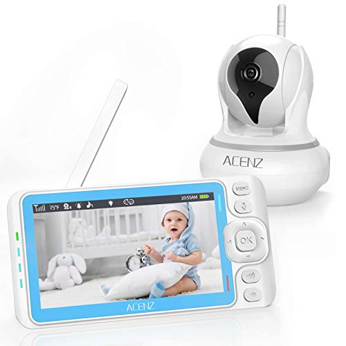 Acenz Video Baby Monitor with 5 Inches Display, 720P HD Resolution, Remote Pan & Tilt & Zoom, No Glow Night Vision, Two-Way Talk, Sound & Temperature Alert, 3000mAh Lithium Battery