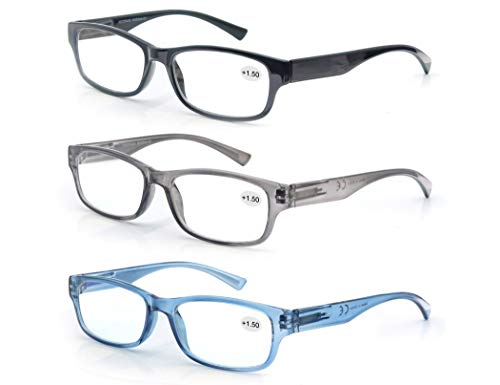 MODFANS Reading Glasses Great Value 3 Pair Stylish Eyeglasses Comfort Spring Hinge Unisex for Men and Women Readers +3.50
