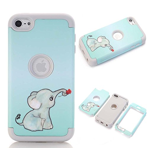 iPod touch 6 Case,iPod touch 5 Case,JMcase[Lovely Elephant Series](Grey)Full-body 3 IN 1 Bumper Protective Case Cover Fit for Apple iPod touch 5 6th Generation,Sent Stylus and Screen Protector (Ipod 5 Color Gray Case)