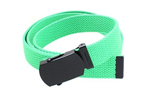 Green Kids Belt (Kids Canvas Web Belt Flat Black Buckle/Tip Solid Color - Green)