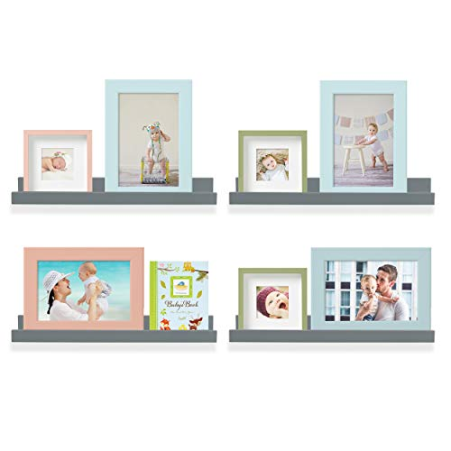 Wallniture Denver Wall Mounted Floating Shelves, Hanging Picture Ledge for Kids Rooms and Nurseries,17 inches, Dark Gray, Set of 4