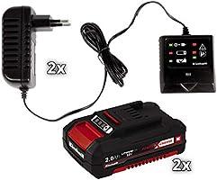 Einhell GE-CM 33 Li - Cortacésped inalámbrico Power X-Change (2x18 V, altura de corte 5 niveles | 25-65 mm , ancho de corte 33 cm, incluye 2 baterías ...