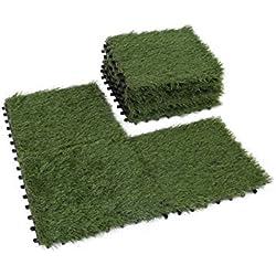 GOLDEN MOON Grass Tile Series PP Interlocking Grass Deck Tiles, Artificial Anti-wear Turf Tiles, 1'x1' (9 Pieces)