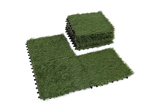 Golden Moon Artificial Interlocking Grass Deck Tiles Synthetic Grass Carpet Tiles Indoor Outdoor Artificial Grass Area Rugs Pile Height 1.5in 1'x1' (9 pieces) (Patio Square Stone Rubber)