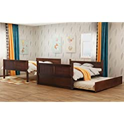 Bedroom Full Over Full Bunk Bed for Kids Teens, Detachable Wood Full Bunk Bed Frame with Twin Trundle bunk beds