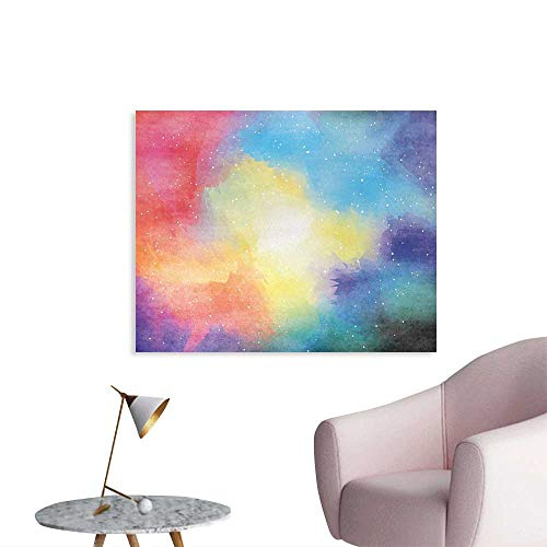 Tudouhoho Abstract Art Poster Watercolor Galaxy Outer Space Star Dust Seemed Image in Vivid Colors Modern Print Wall Picture Decoration Multicolor W36 xL24
