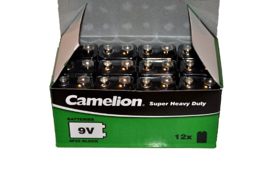 12x Camelion 9V Block Batterie 6F22 MN1604 Super Heavy Duty