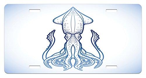 (Ambesonne Kraken License Plate, Squid in Classic Line Art Styled Graphic Nautical Marine Sea Creature Image Art, High Gloss Aluminum Novelty Plate, 5.88