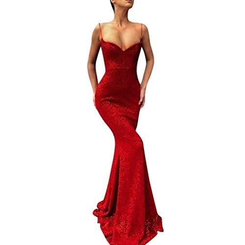 Beauty&YOP Women's Sequin Glitter Sexy Deep V Neck Bodycon Dresses Spaghetti Straps Cocktail Party Midi Dress Party Clubwear Dress -