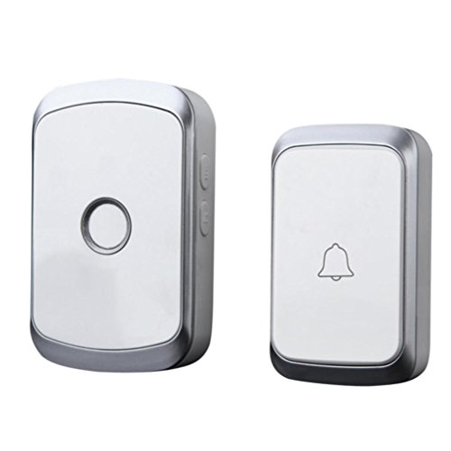 Price comparison product image Sunshinehomely LED Flashing Alert Wireless Remote Control Chime Door Bell Gate Alarm Doorbell With 36-Melody Wall (Sliver)