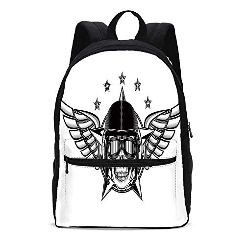 Skull Durable Backpack,Skull Pilot with Eagle Wings and Stars Fast Day of the Dead Bones Print for School Travel,10.6