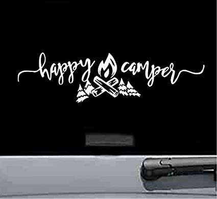 Happy Camper Vinyl Decal Sticker Camp Hiking Camping Rv Trailer WHITE