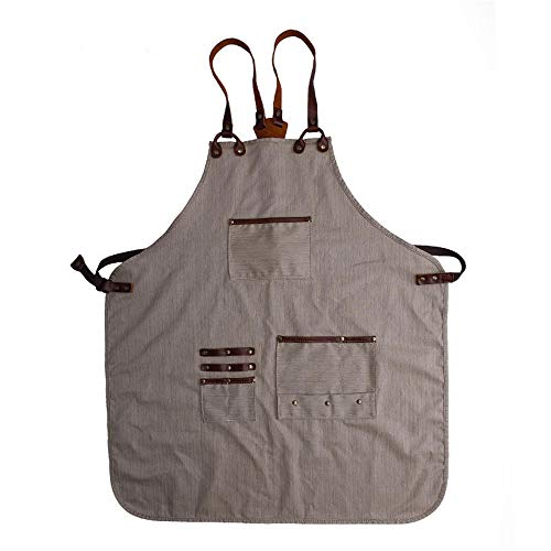 Luxury Canvas Work Apron Heavy Duty Water Resistant Tools Aprons Adjustable Cross-Back Straps Workshop Carpenter Chefs (Creamy ()