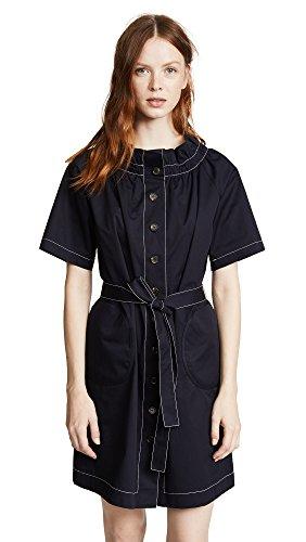 JENNY PARK Women's Ruffled Neck Button Front Dress, Navy, Medium (Twill Smocked Dress)