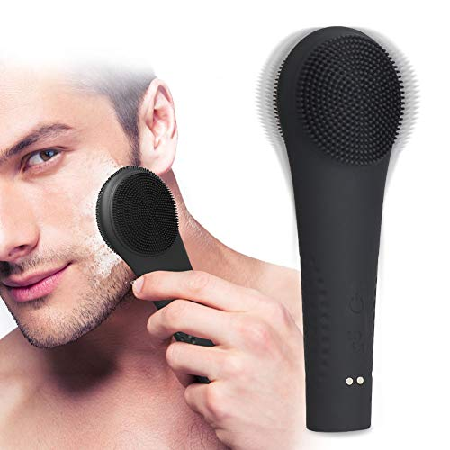 (Facial Cleansing Brush, Silicone Face Brush for Men, Sonic Electric Face Cleanser Negative Ions Massager System for Skin Clean (Black))
