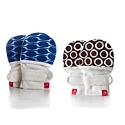 Goumikids Goumimitts Soft Stay On Scratch Mittens - Stop Scratches and Germs, 2 Pack (Cirque/Chocolate - Mod/Blue, 0-3 Months)