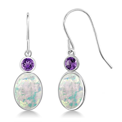Style Amethyst Cabochon Earrings - 2.30 Ct Oval Cabochon White Simulated Opal Purple Amethyst 14K White Gold Earrings