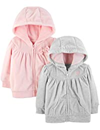 Baby Girls' 2-Pack Fleece Full Zip Hoodies