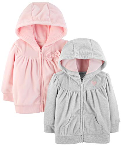 Simple Joys by Carter's Girls' 2-Pack Fleece Full Zip Hoodies, Light Gray/Pink, 6-9 Months