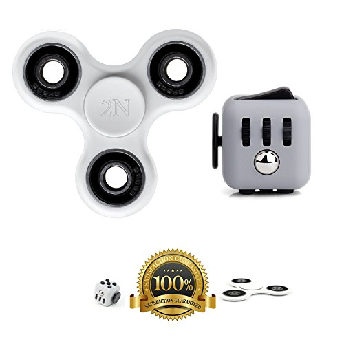 2NLIST Fidget Tri Spinner and Fidget Cube Combo Stress Reducer Toy Perfect For Adults and Children Hand Spinner (White)