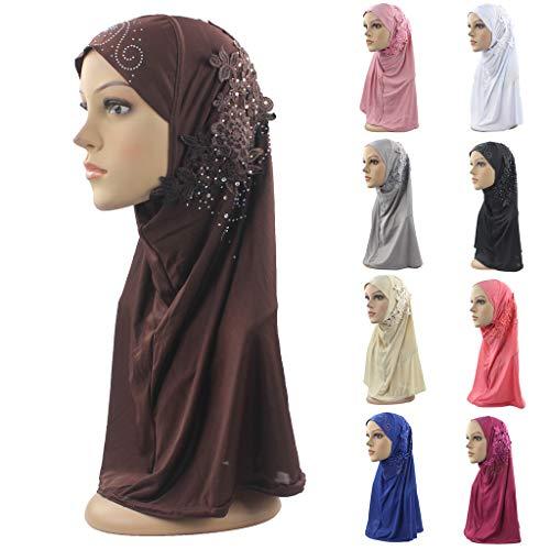 (Tuscom Muslim Women Inner Hijab Headscarf Cap Islamic Full Cover Middle Eastern Hat Hood Hijab Tube Underscarf Cap Bonnet Long Scarf Wrap Scarves Shawls Stretch Jersey Turban Headband (Coffee))